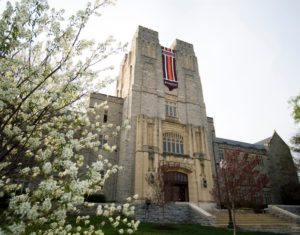 Image of the front of Burruss Hall on a sunny afternoon