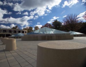 A picture of the Glass Pyramids that adorn the top of the subterranean Burchard Hall
